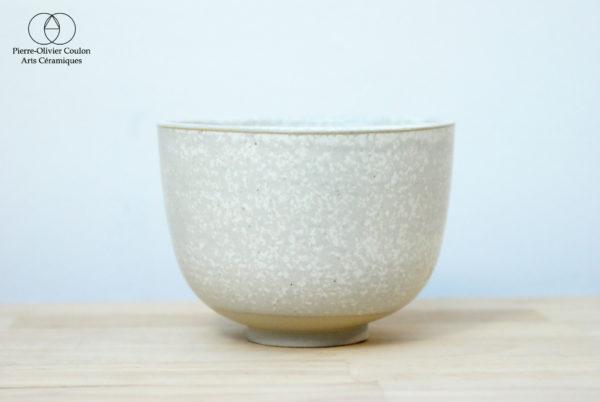 Bol en grès émaillé blanc à effets céramique contemporaine