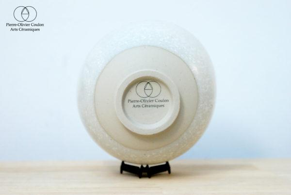 Bol en grès émaillé blanc à effets fabriqué en France