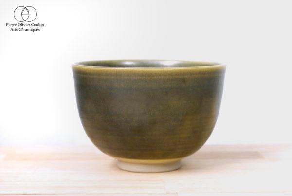 Bol en grès émaillé vert irisé céramique contemporaine