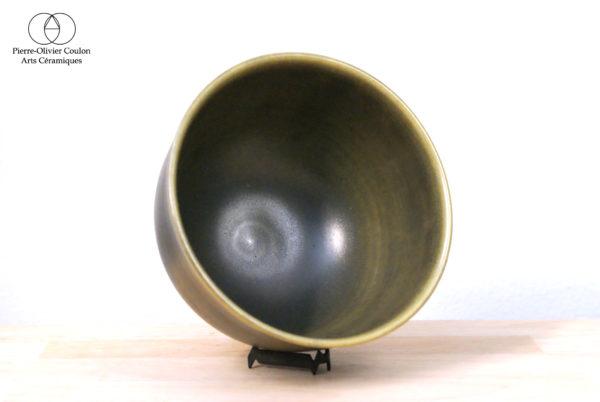 Bol en grès émaillé vert irisé poterie artisanale
