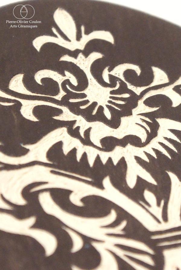 détail sculpture en grès céramique d'art