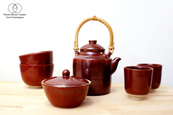 Service à thé en grès émaillé rouge de fer artisanat d'art