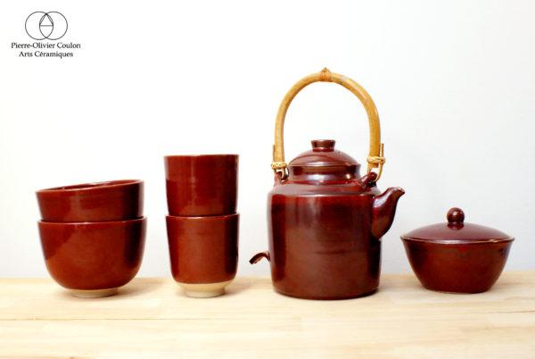 Service à thé en grès émaillé rouge de fer art du thé