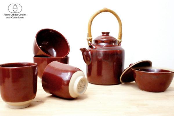 Service à thé en grès émaillé rouge de fer céramique contemporaine