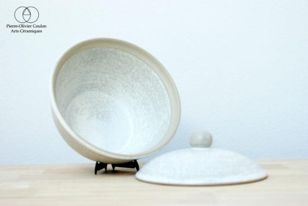 sucrier en grès émaillé blanc à effets fabriqué en France