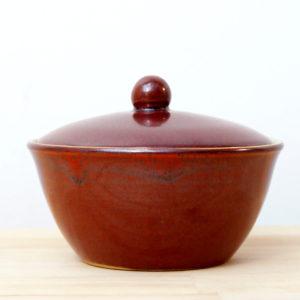 sucrier en grès émaillé rouge de fer céramique contemporaine