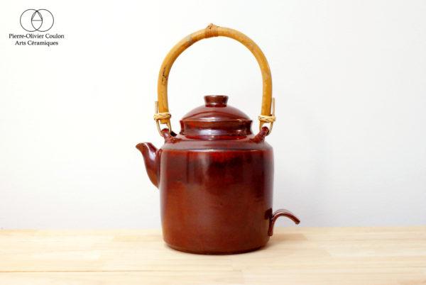 Théière en grès émaillé rouge de fer poterie artisanale